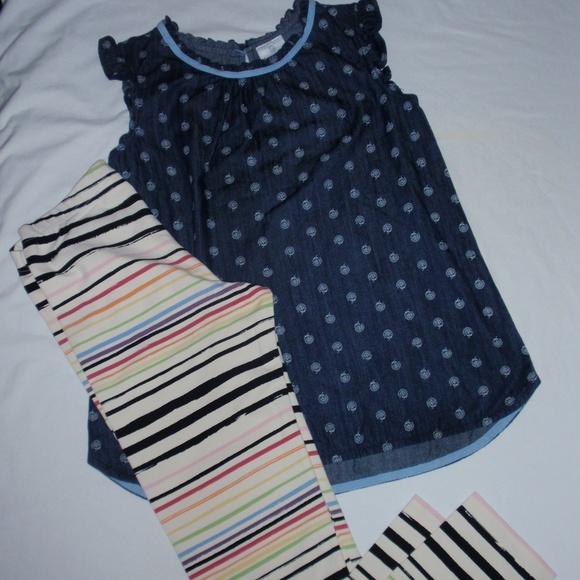 545a7450fa05 Hanna Andersson Bottoms | Denim Top Striped Leggings 160 | Poshmark